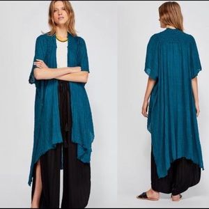Free People Teal High Low Angelica Kimono